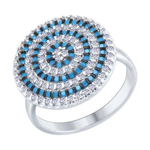 Кольцо из серебра с голубыми ситаллами и фианитами (94012469) - фото