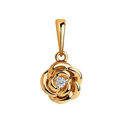 Подвеска из золота с фианитом (035621) - фото