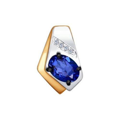 Подвеска из золота с бриллиантами и корундом сапфировым (синт.)