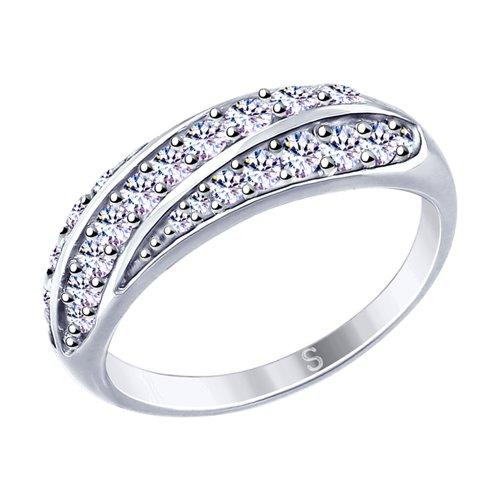 Кольцо из серебра с фианитами (94012648) - фото