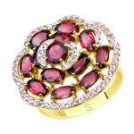 Кольцо из желтого золота с родолитами и