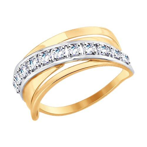 Кольцо из золота с фианитами (017563) - фото