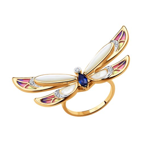 Кольцо из красного золота с бриллиантами, сапфирами и перламутром