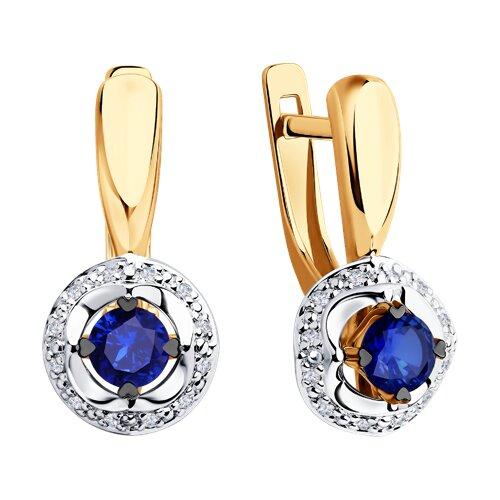 Серьги из комбинированного золота с бриллиантами и синими корундами (6022151) - фото №2