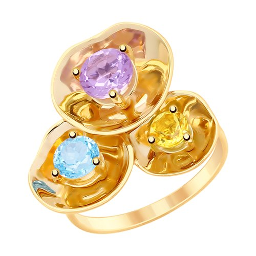 Кольцо из золота с полудрагоценными вставками (8-710017) - фото