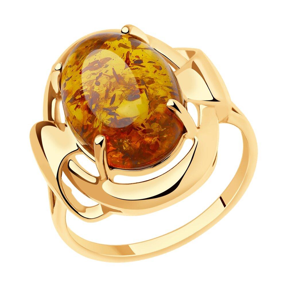 Кольцо SOKOLOV из золота с янтарём фото