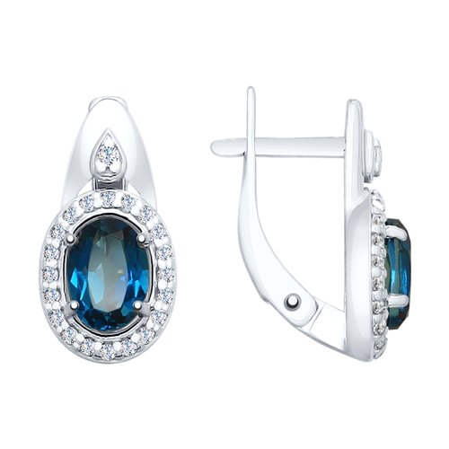 Серьги из серебра с синими топазами и фианитами (92021684) - фото