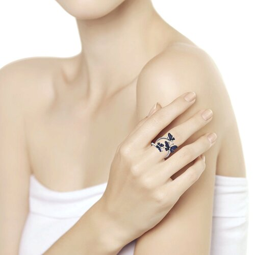 Кольцо из белого золота с бриллиантами и сапфирами (2011025) - фото №2