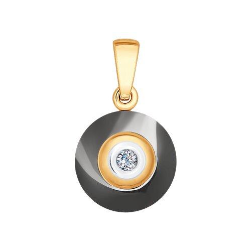 Подвеска из золота с бриллиантом и керамикой