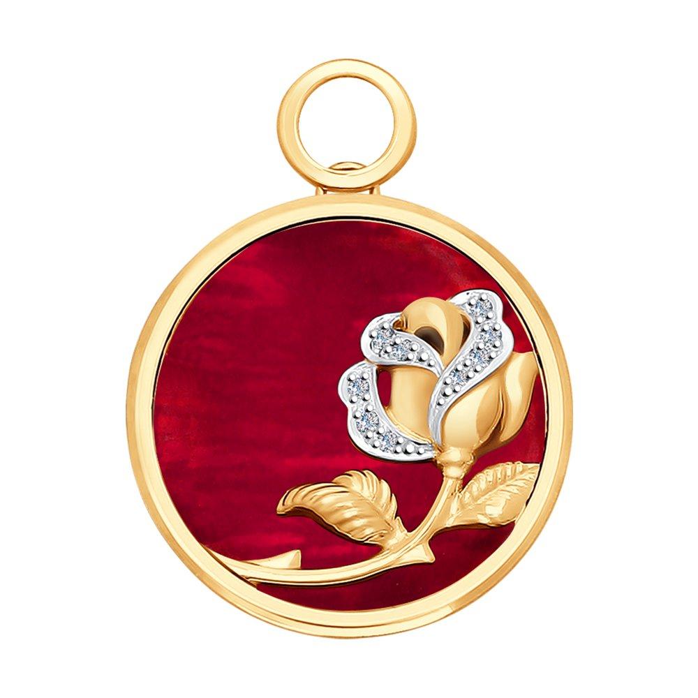 Подвеска SOKOLOV из золота с бриллиантами и красным перламутром