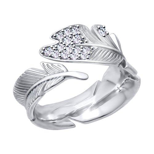 Кольцо из серебра с фианитами (94012724) - фото