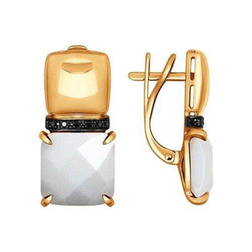 Серьги из золота с чёрными бриллиантами и керамическими вставками (6025028) - фото