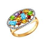 Золотое кольцо с миксом камней