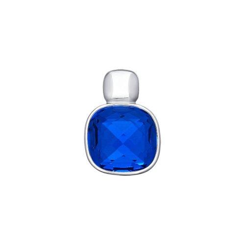 Подвеска из серебра с синим кристаллом swarovski