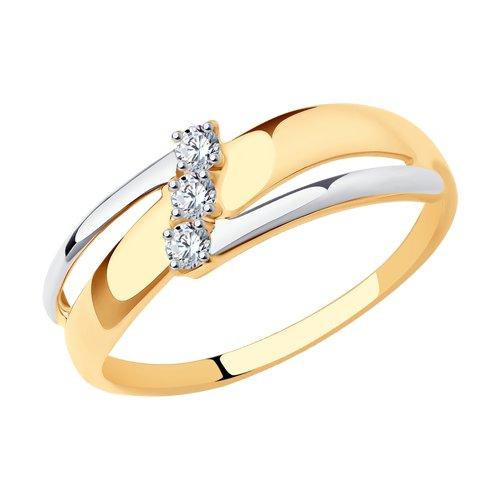 Кольцо из золота с фианитами (017220) - фото