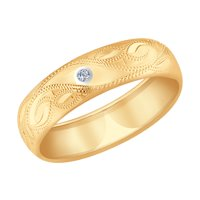 Кольцо из золота с гравировкой с бриллиантом