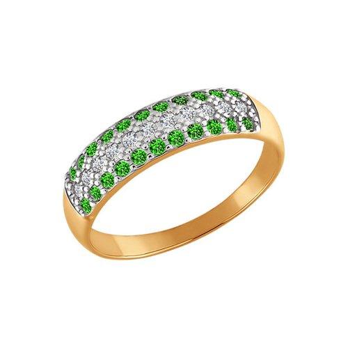 Золотое кольцо с дорожкой SOKOLOV из белых и зелёных фианитов золотое кольцо ювелирное изделие k 11013
