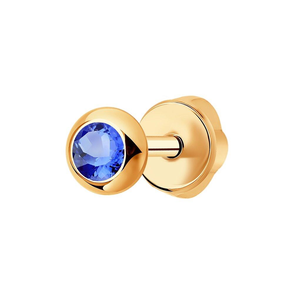 Серьга-пусета SOKOLOV из золота с голубым сапфиром