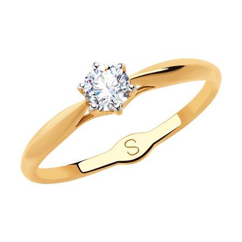 Кольцо из золота с фианитом (018177) - фото