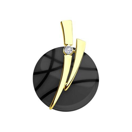 Подвеска из желтого золота с бриллиантом и чёрным керамической вставкой