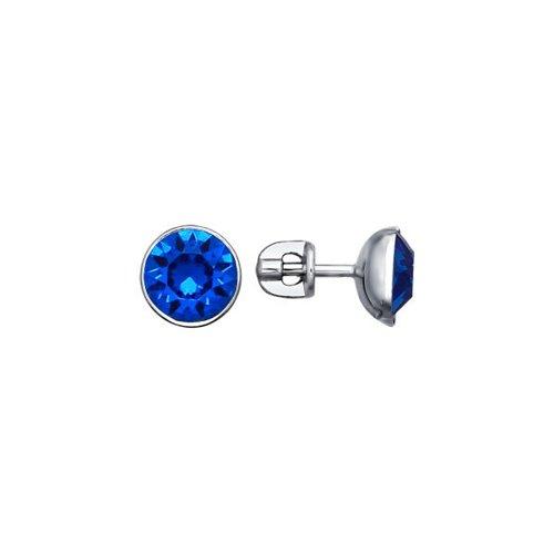 Серьги-пусеты из серебра с синими кристаллами swarovski
