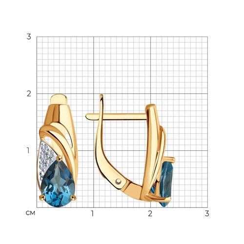 Серьги из золота с синими топазами и фианитами 725598 SOKOLOV фото 2