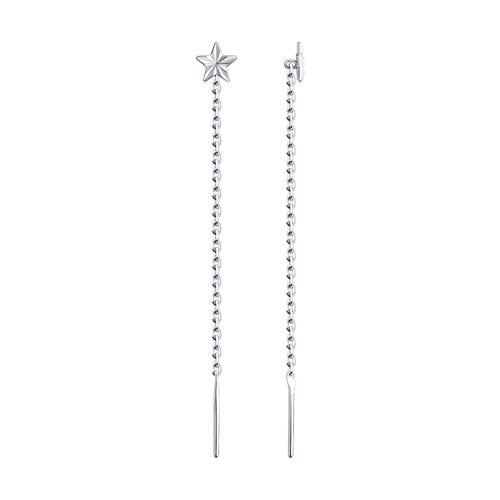 Серьги-цепочки из серебра
