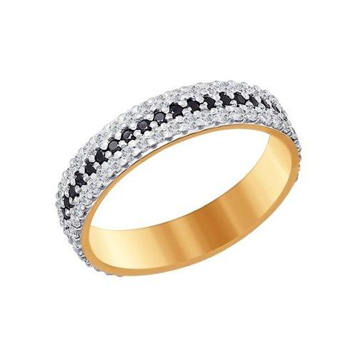 Золотое кольцо с чёрными и бесцветными фианитами SOKOLOV золотое кольцо ювелирное изделие 01k625248