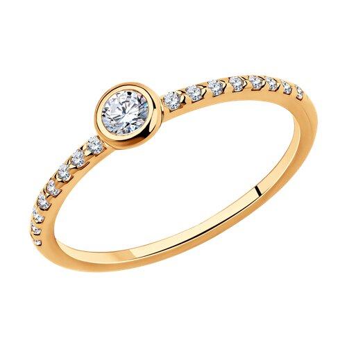 Серебряное золоченое кольцо с фианитами SOKOLOV серебряное кольцо с фианитами и муранским стеклом лазурного цвета
