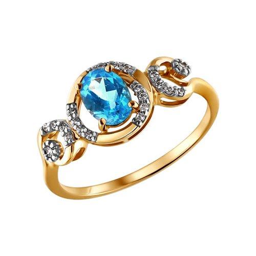 Золотое кольцо с голубой вставкой SOKOLOV золотое кольцо ювелирное изделие 01k626002