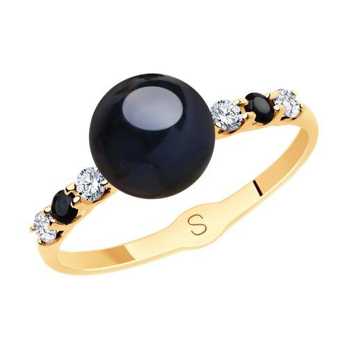 Кольцо из золота с чёрным жемчугом и фианитами (791157) - фото