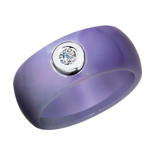 Керамическое кольцо с белым золотом и бриллиантом (6015062) - фото