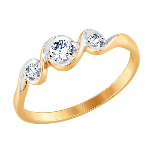 Кольцо из золота с фианитами (017656) - фото