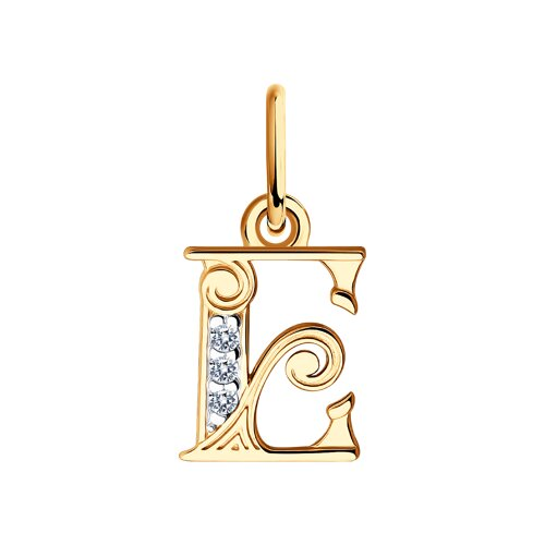 """Подвеска-буква """"Е"""" из золота с фианитами 033817 sokolov фото"""