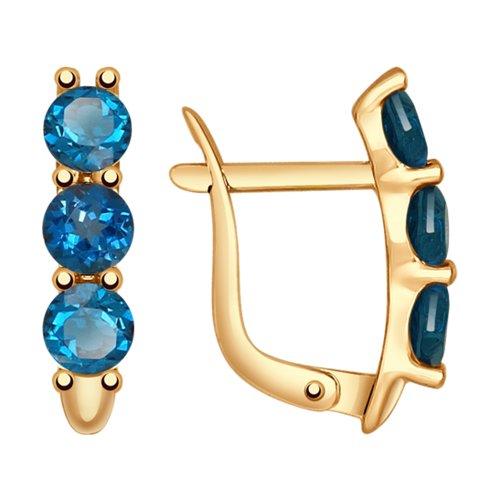 Серьги из золота с синими топазами (37724717) - фото