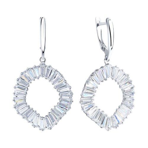 Серьги из серебра с фианитами (94023929) - фото №2