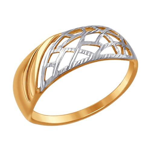 Кольцо из золота с алмазной гранью (017483) - фото