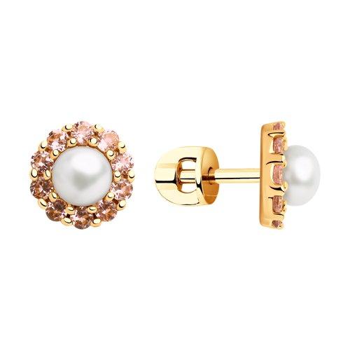 Серьги из золота с жемчугом и розовыми ситаллами (792148) - фото