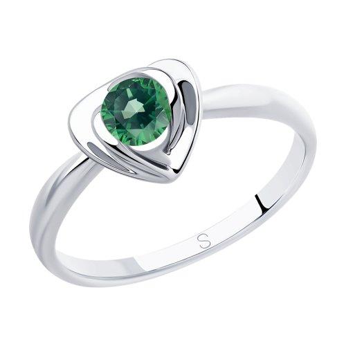 Кольцо из серебра с фианитом (94012886) - фото