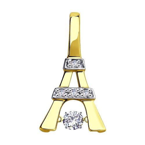 """Подвеска """"Эйфелева башня"""" из желтого золота с бриллиантами"""