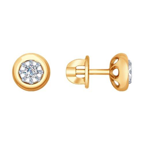 Серьги из комбинированного золота с бриллиантами (1021287) - фото