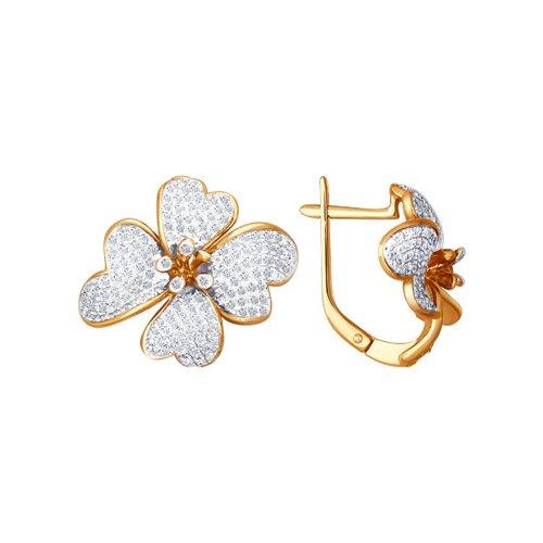 Красивые серьги в форме цветка с бриллиантами SOKOLOV