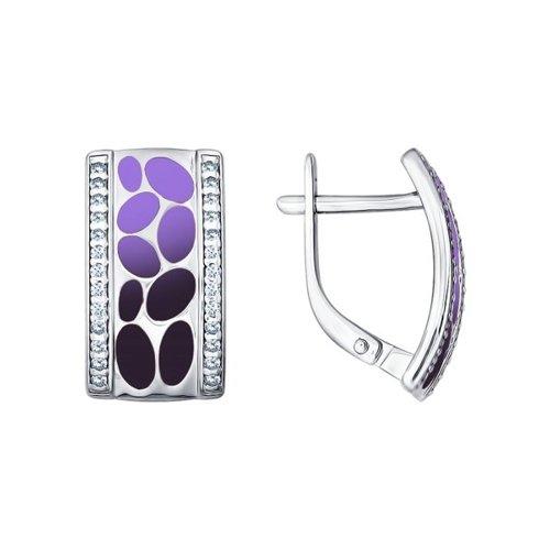Серьги SOKOLOV из серебра с эмалью с фианитами серьги с эмалью из серебра
