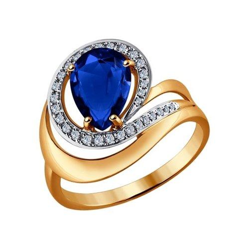 Кольцо из золота с бриллиантами и корундом сапфировым (синт.)