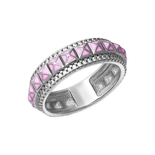 Серебряное кольцо с розовой эмалью SOKOLOV