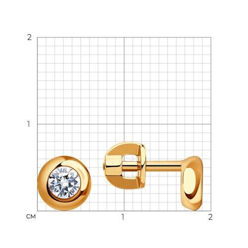 Серьги-пусеты из золота с фианитами (027240) - фото №2