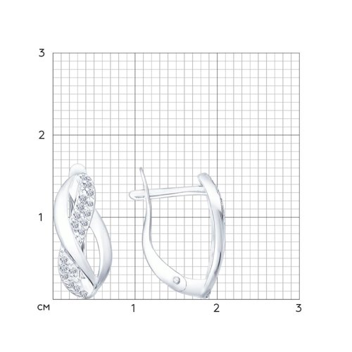 Серьги из серебра с фианитами (94021839) - фото №2