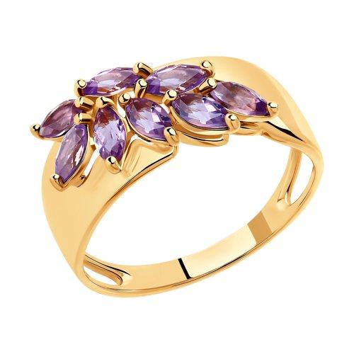 Кольцо из золота с аметистами (715208) - фото