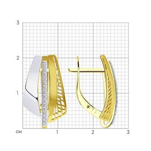 Серьги из желтого золота с фианитами 028820-2 SOKOLOV фото 2