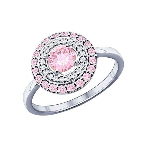 Кольцо из серебра с розовыми фианитами (94011802) - фото